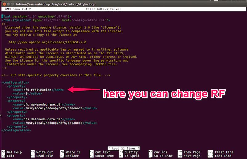 change replication factor through hdfs file