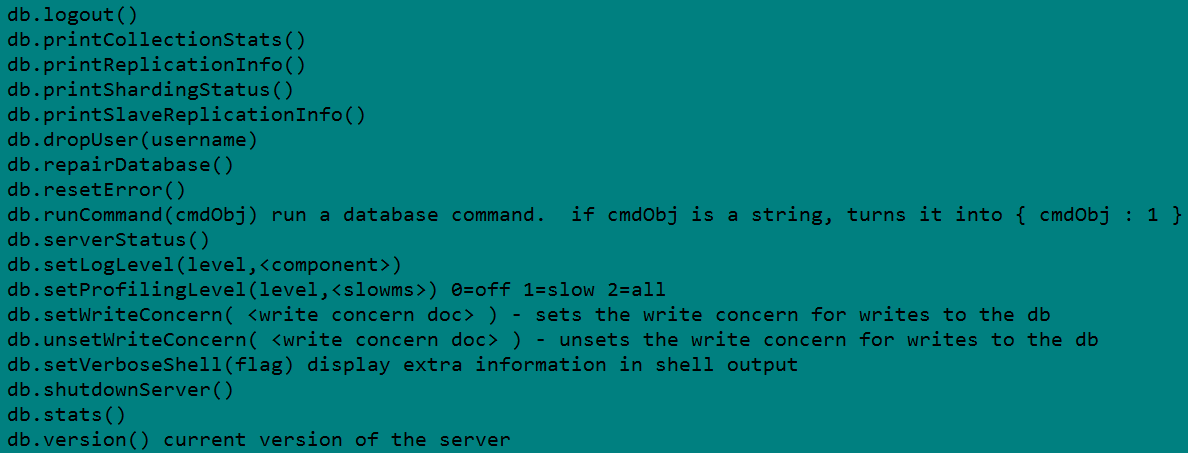MongoDB Help Command